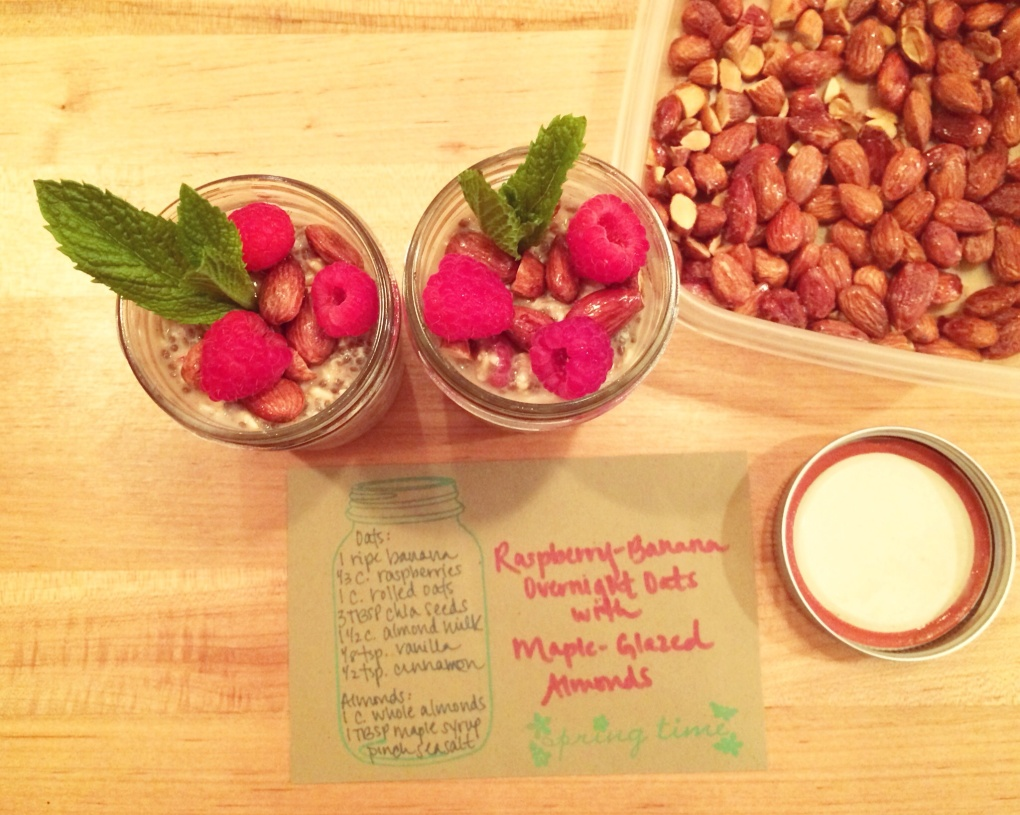 The Kitchen Beet :: Raspberry-Banana Overnight Oats with Maple-Glazed Almonds